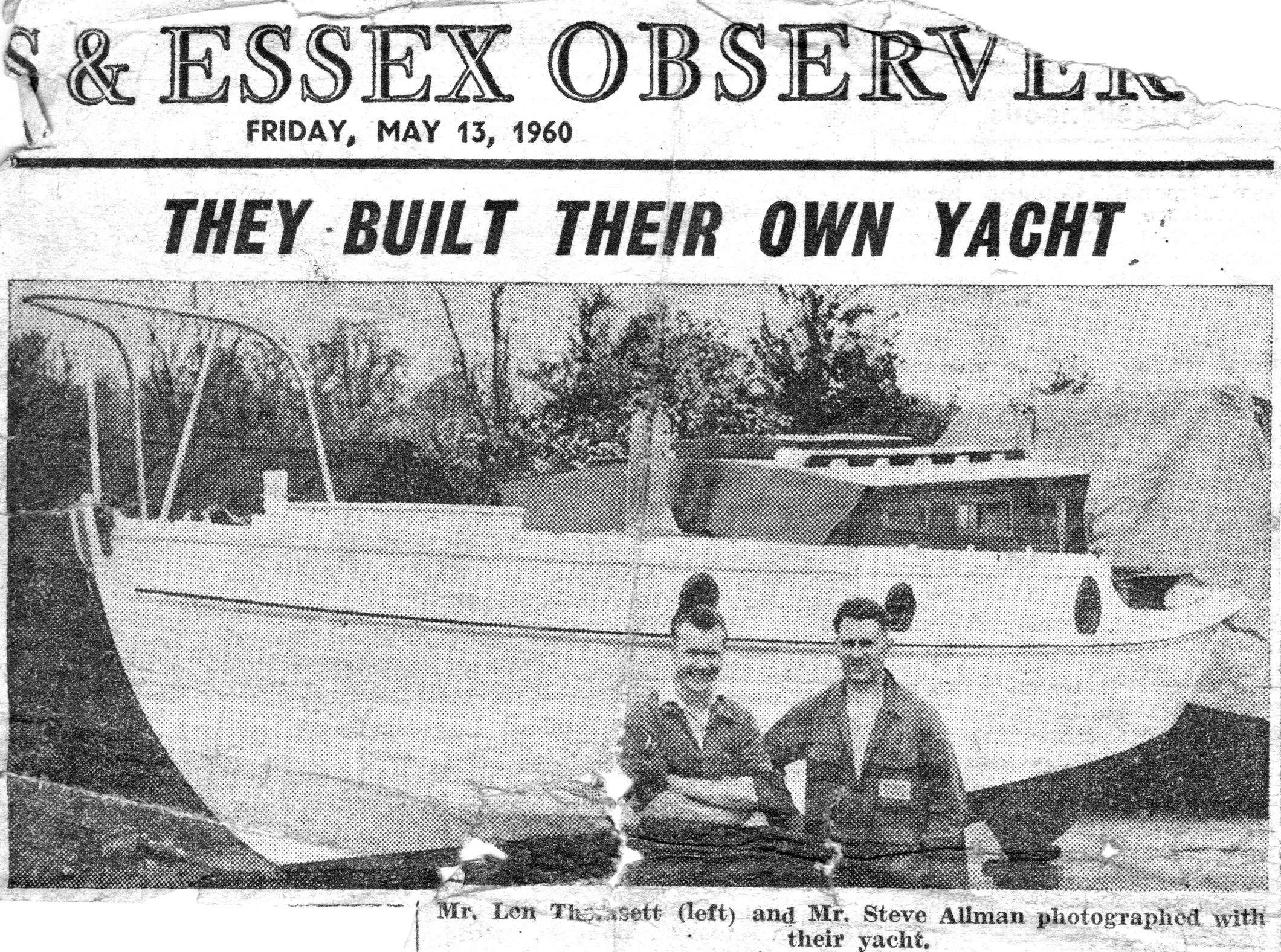 Photograph from the Herts & Essex Observer of Len Thomsett and Steve Allman with their yacht Miga