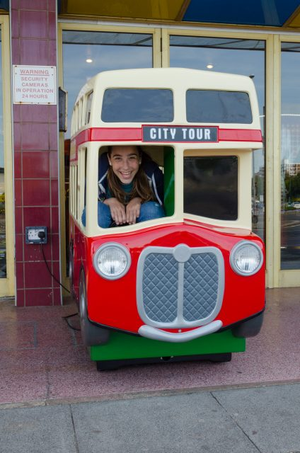 Lanie gets to ride in a double-decker bus…