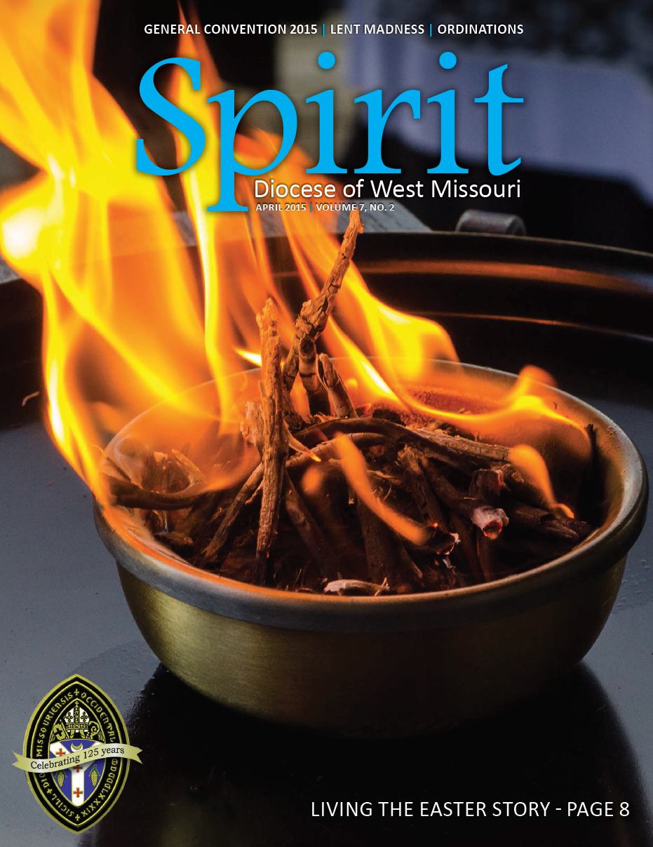 Cover image for the Spirit Magazine, April 2015. Diocese of West Missouri. The cover features the new flame of the Easter Vigil, used to light the candles before the Easter Vigil service. Taken at Christ Episcopal Church, Springfield, MIssouri. Easter 2014.