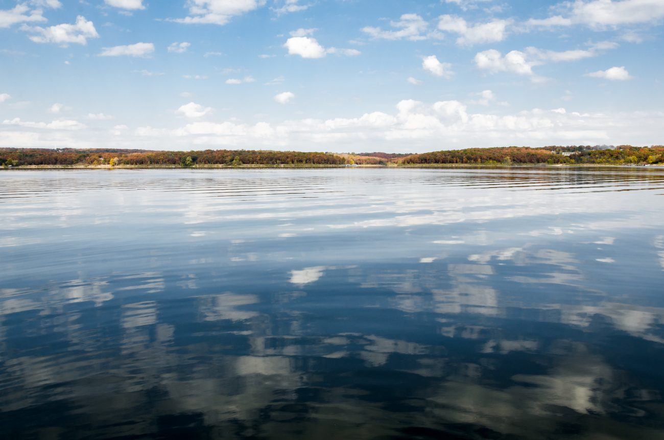 Clouds reflected in Pomme de Terre Lake, Missouri USA