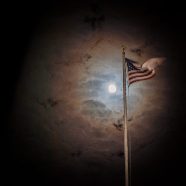 Luna Corona & Flag over the Brentwood Library, Springfield Missouri
