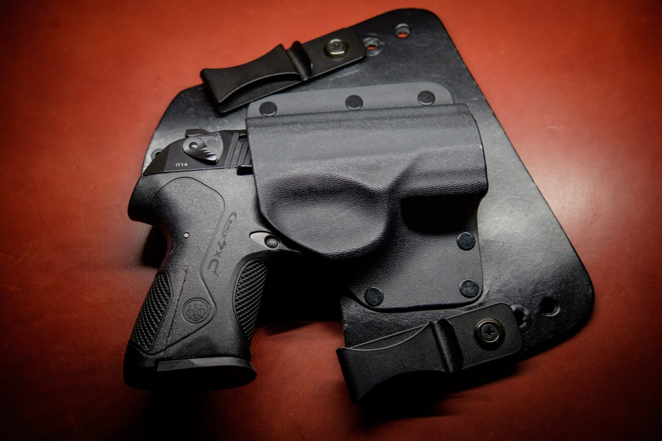 Photograph of an In the Waistband Concealed Carry Holster with a Beretta PX4 Storm Compact 9mm handgun