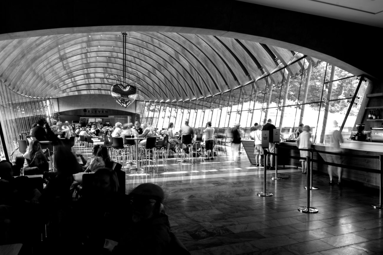 Black and white photograph of the Crystal Bridges Restaurant -  'Eleven'