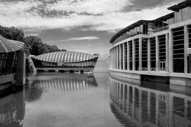 Crystal Bridges Museum Architecture (black and white)