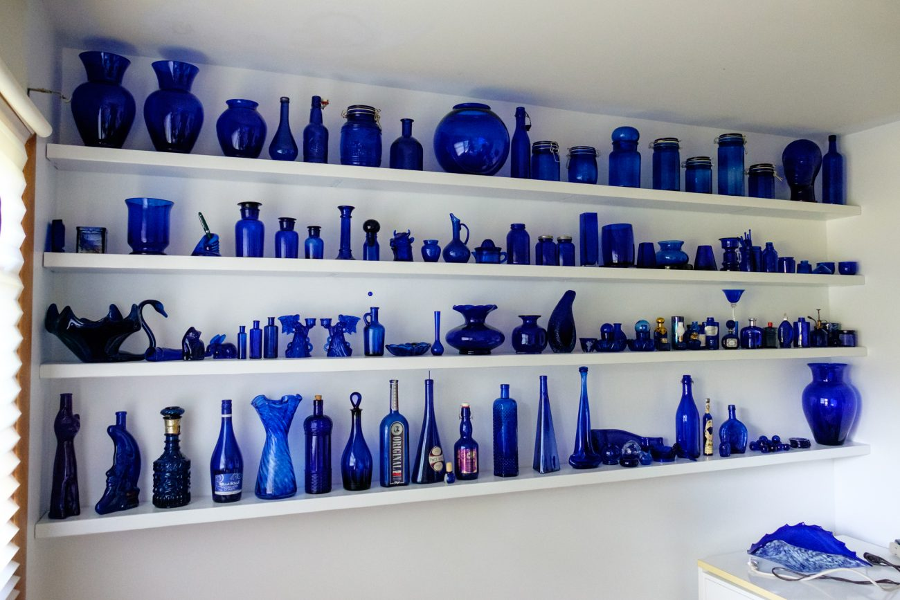 Photograph of a blue glass collection
