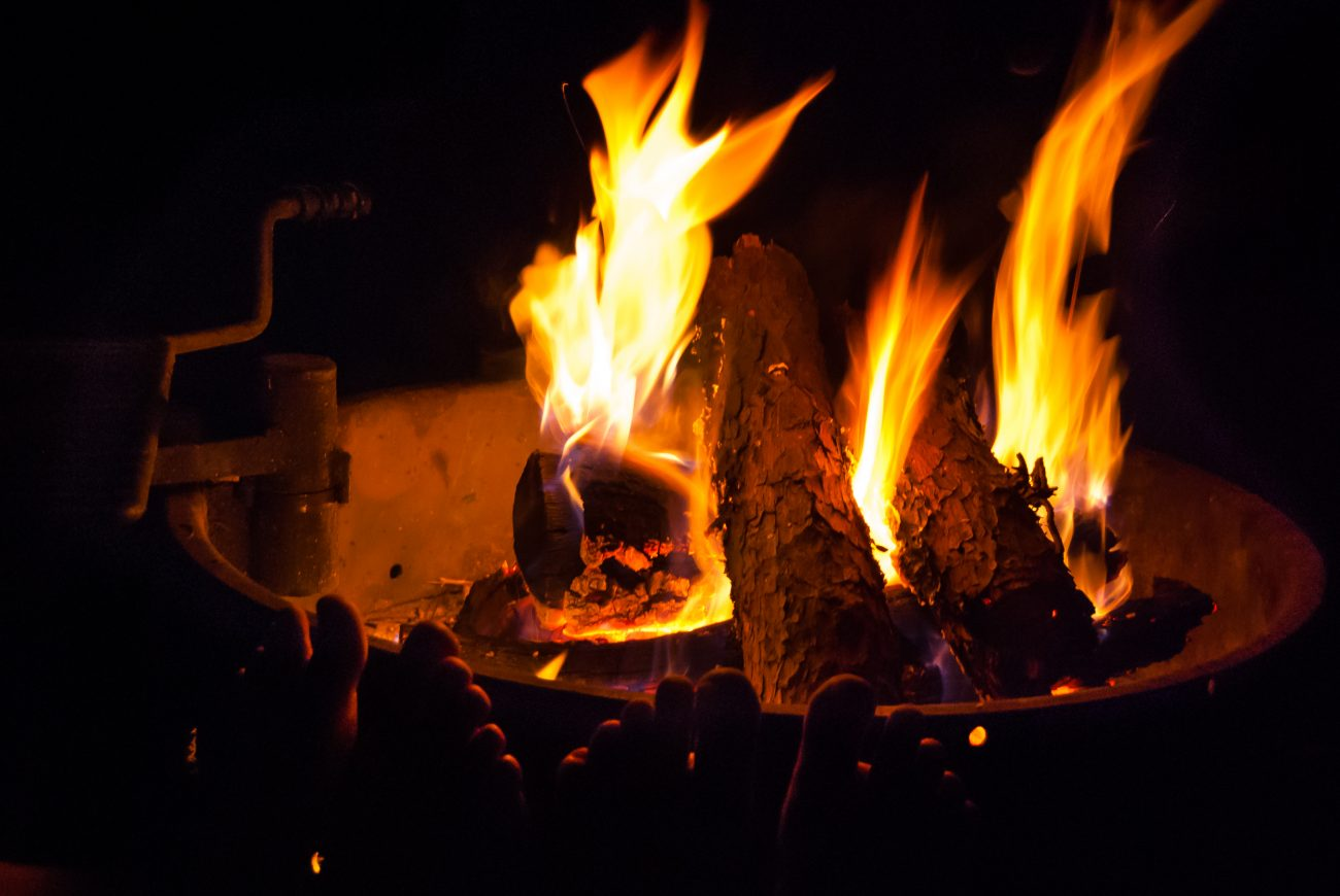 Roasting tootsies round an open fire