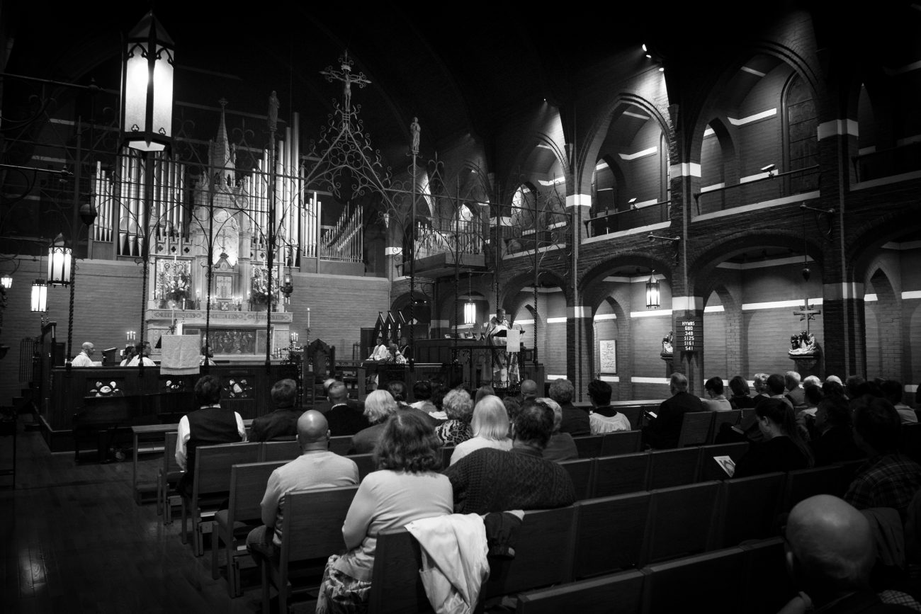 Black and White Photograph - St. Mary's Episcopal Church, Kansas City. Area Confirmation service.