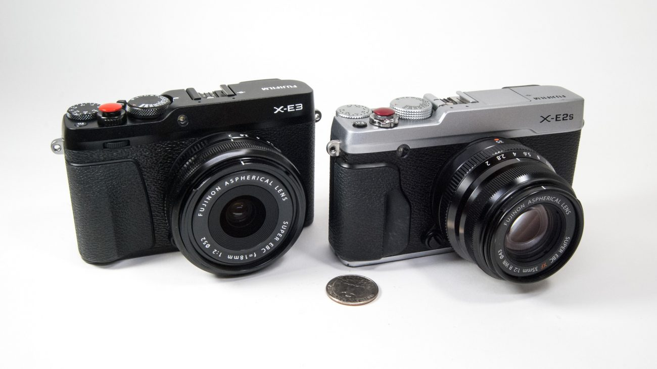 Photograph of a FujiFilm X-E3 & Fujifilm X-E2s camera.